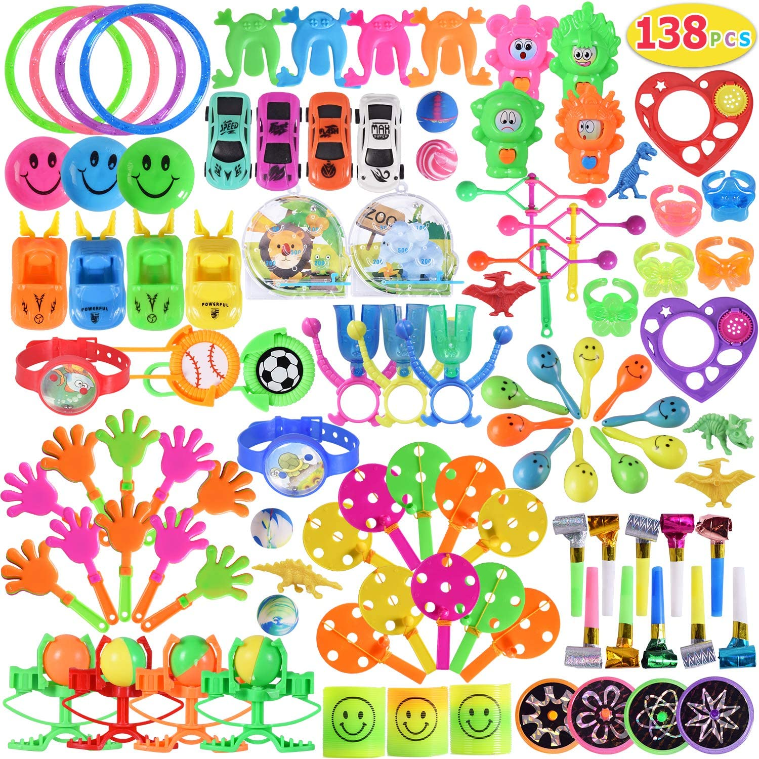Max Fun 138pcs Random Color Assortment Toys for Kids Birthday Party Favors Prizes Box Toy Assortment Classroom
