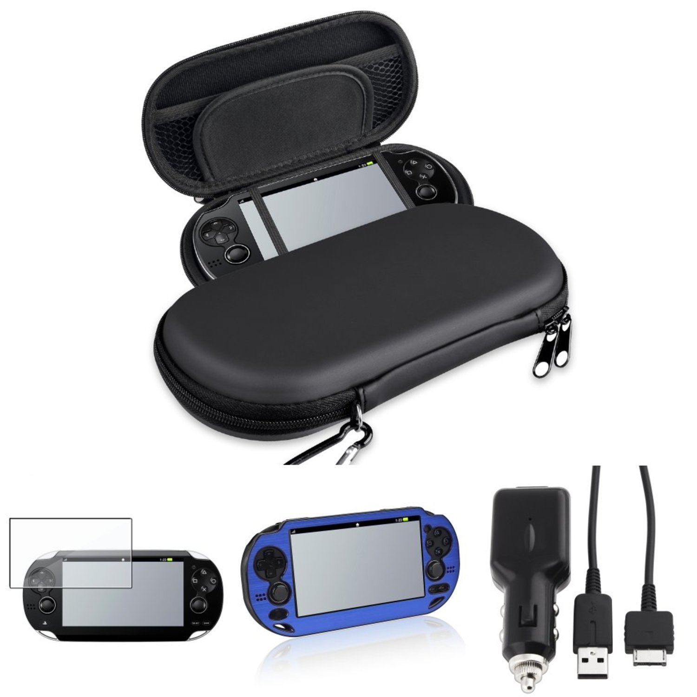 CommonByte Black EVA Carry Case+Blue Aluminum Case+Car Charger+Guard For Sony PS Vita PSV