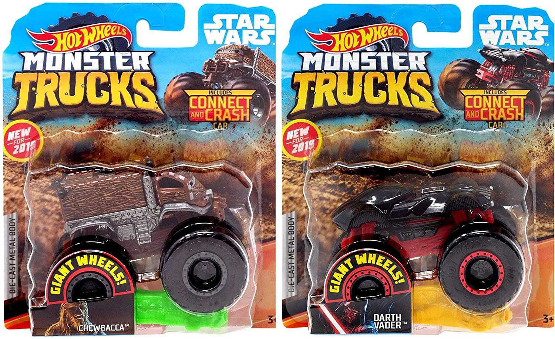 Hot Wheels Monster Trucks Chewbacca vs Darth Vader 1:64 Connect and Crash 2 Truck Bundle
