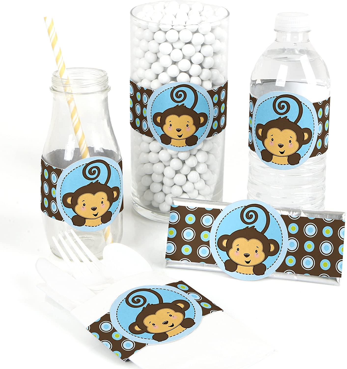 Blue Monkey Boy - DIY Party Supplies - Baby Shower or Birthday Party DIY Wrapper Favors & Decorations - Set of 15