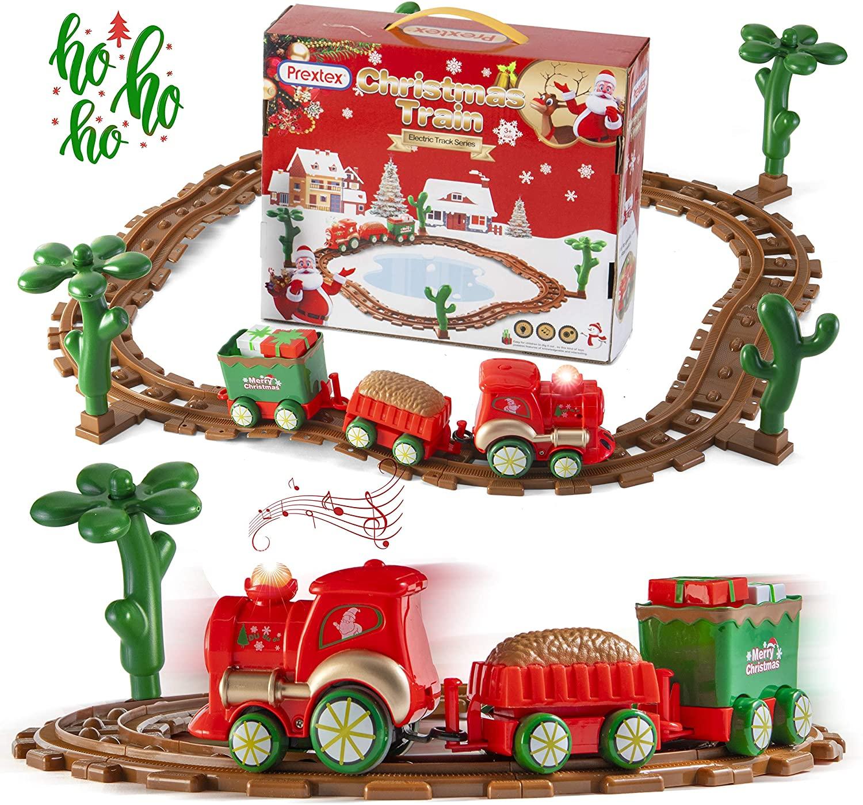 Prextex Kids Christmas Train Around The Tree Musical Christmas Train Set for Kids