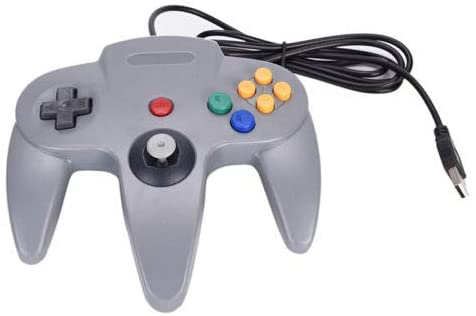 FidgetFidget Wired USB Controller for Nintendo N64 Joystick Games Gamepad Joypad for N64 EF Gray