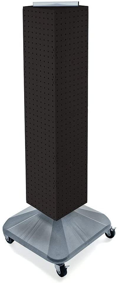Azar Displays 703388-BLK Standard Four-Sided Interlocking Pegboard Tower, Black Solid (Renewed)