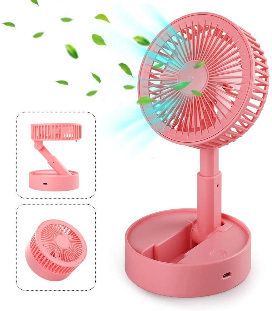 Gaishi USB Desk Fan, Portable Mini Cooling Fan with 3 speeds, Super Quiet Fan for Bedroon Home Office Walking, Coral pink