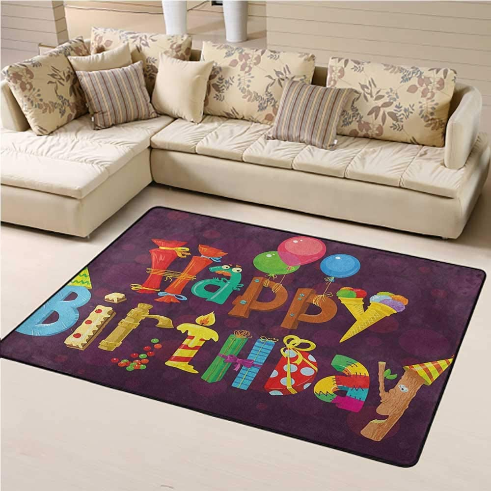 Living Room Carpet Birthday Kids Play Rug Abstract Purple Background Ice Cream Sweets Party Objects as Letters Celebration 5 x 7 Ft Multicolor