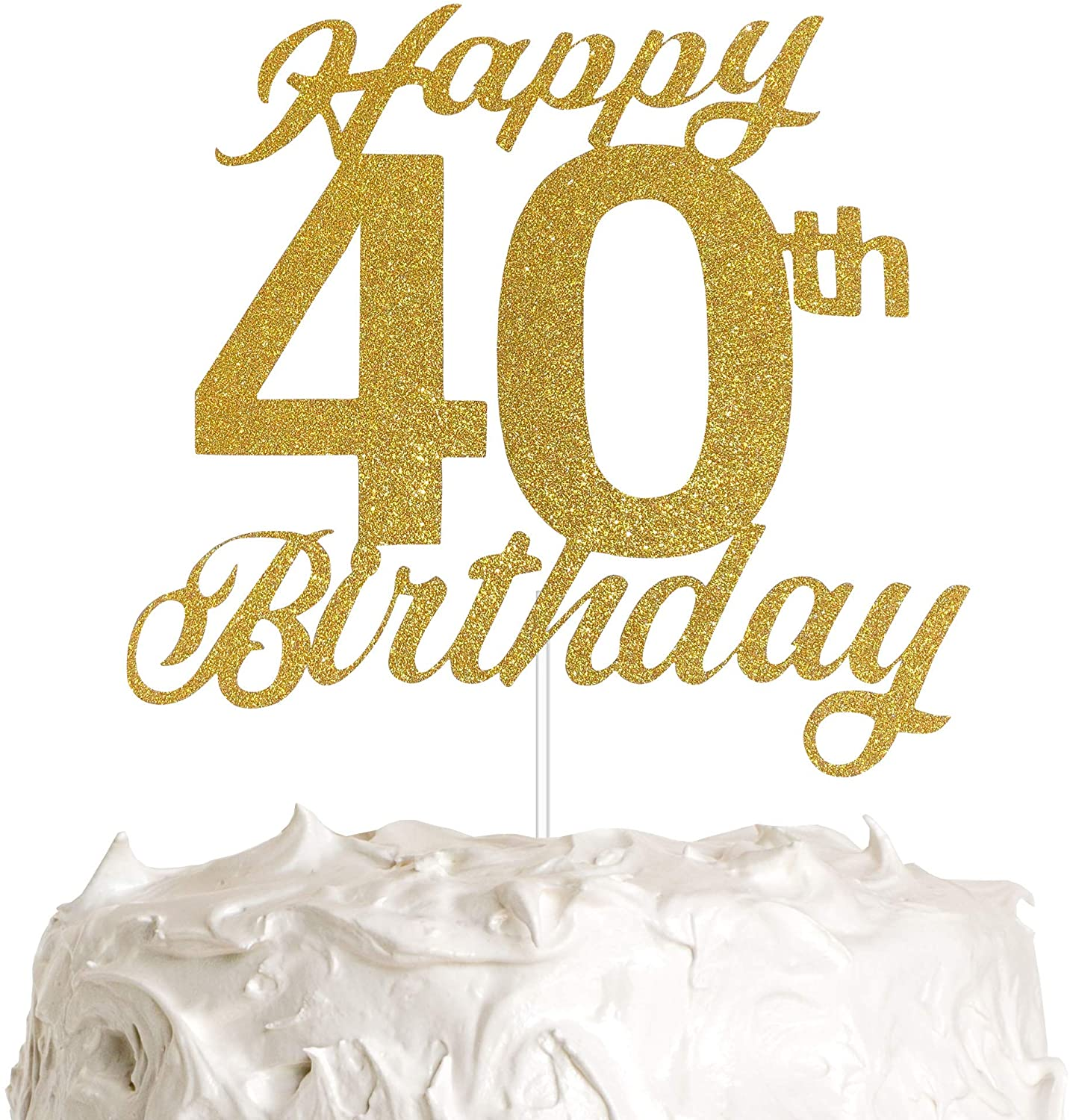 40th Birthday Cake Topper, 40th Happy Birthday Party Decoration with Premium Gold Glitter