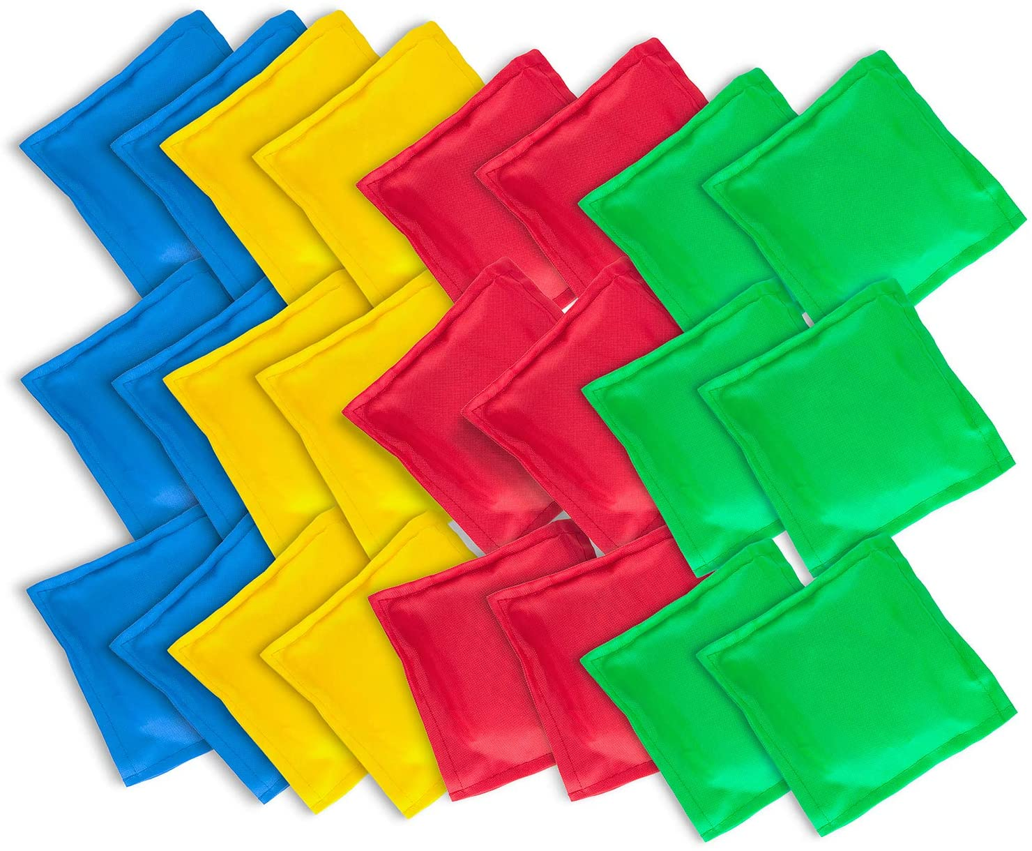 Super Z Outlet Nylon Cornhole Bean Bags Toy Set Sack Hand Toss Games Weights for Kids (5 x 5 Assorted Colors) (24 Pack)