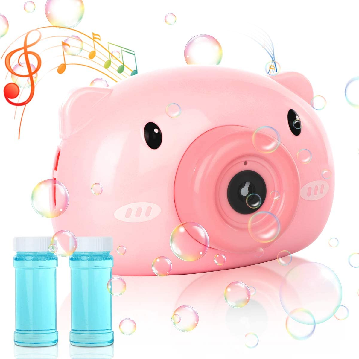 Masefu Bubble Machine in Piggy Camera Shape with Strap, Music Bubble Machine Maker for Toddler and Kids Outdoors - Automatic Bubble Maker for Outdoors, Party & Wedding
