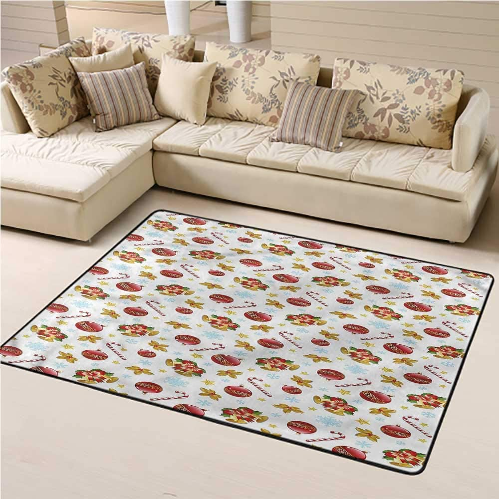 Rugs Christmas, Xmas Ornaments Bells Bedside Carpet for Boys and Girls Play and Learn 4 x 6 Feet