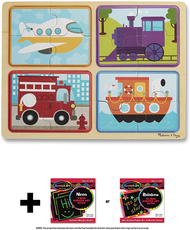 Ready, Set, Go Vehicle: Natural Play Wooden x Puzzle & 1 Melissa & Doug Scratch Art Mini-Pad Bundle (31361)