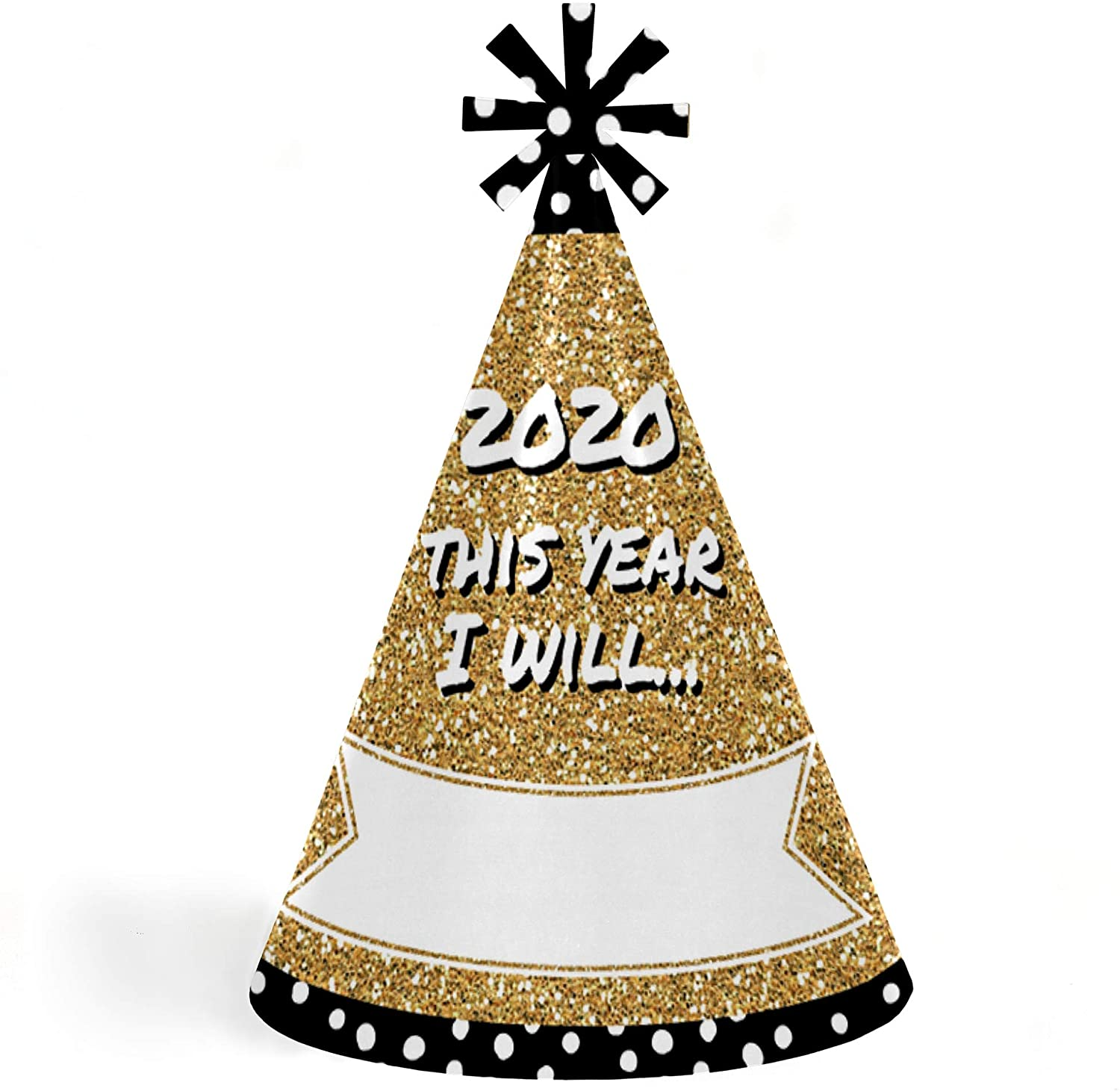 Big Dot of Happiness Pop, Fizz, Clink - Cone 2020 New Year's Eve Resolution Party Hats for Kids and Adults - Set of 8 (Standard Size)