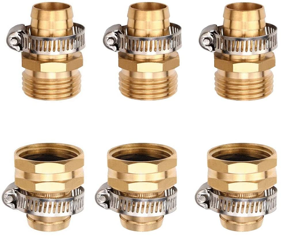 SUMAJU 3 Sets Brass Garden Hose Repair Connector, Garden Hose Repair Kit Thread Water Hose End Mender with Stainless Steel Clamp Female and Male Hose Connector for 3/4 Inch Garden Hose