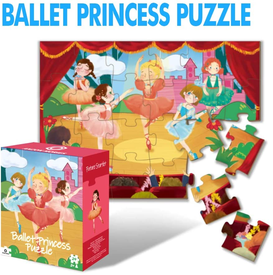 ANZON MORIES Ballet Princess Puzzle with Storage Box, 24 Pieces Large Kid Jigsaw Puzzles 42x30cm (Extra-Thick Material, Original Artwork), Toddler Educational Preschool Toy for Children Ages 3 4 5 6