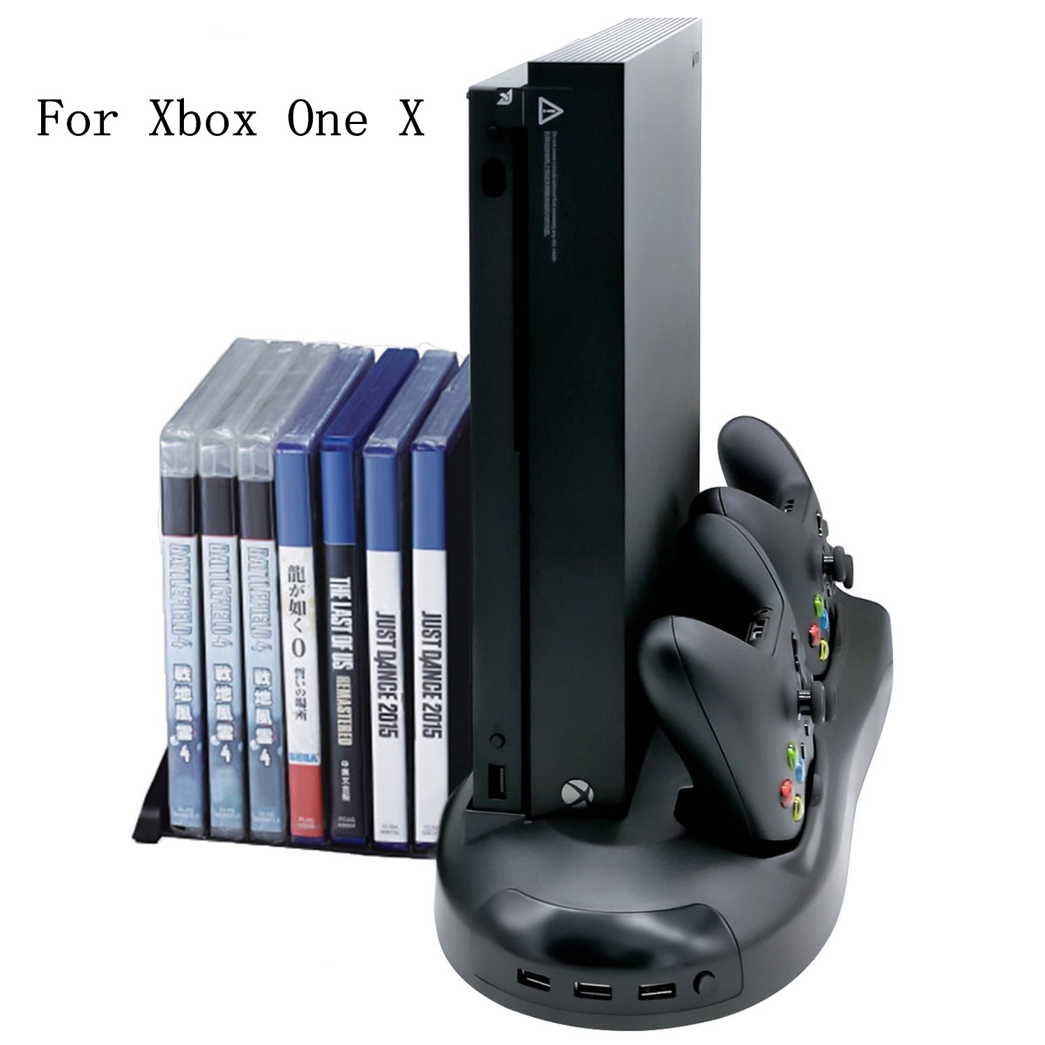 eLUUGIE Multifunction Vertical Stand with Cooling Fan Game Discs Orainzer Mounts & Dualshock Charger For For Xbox One X Console Xbox One X Controller Charger Dock