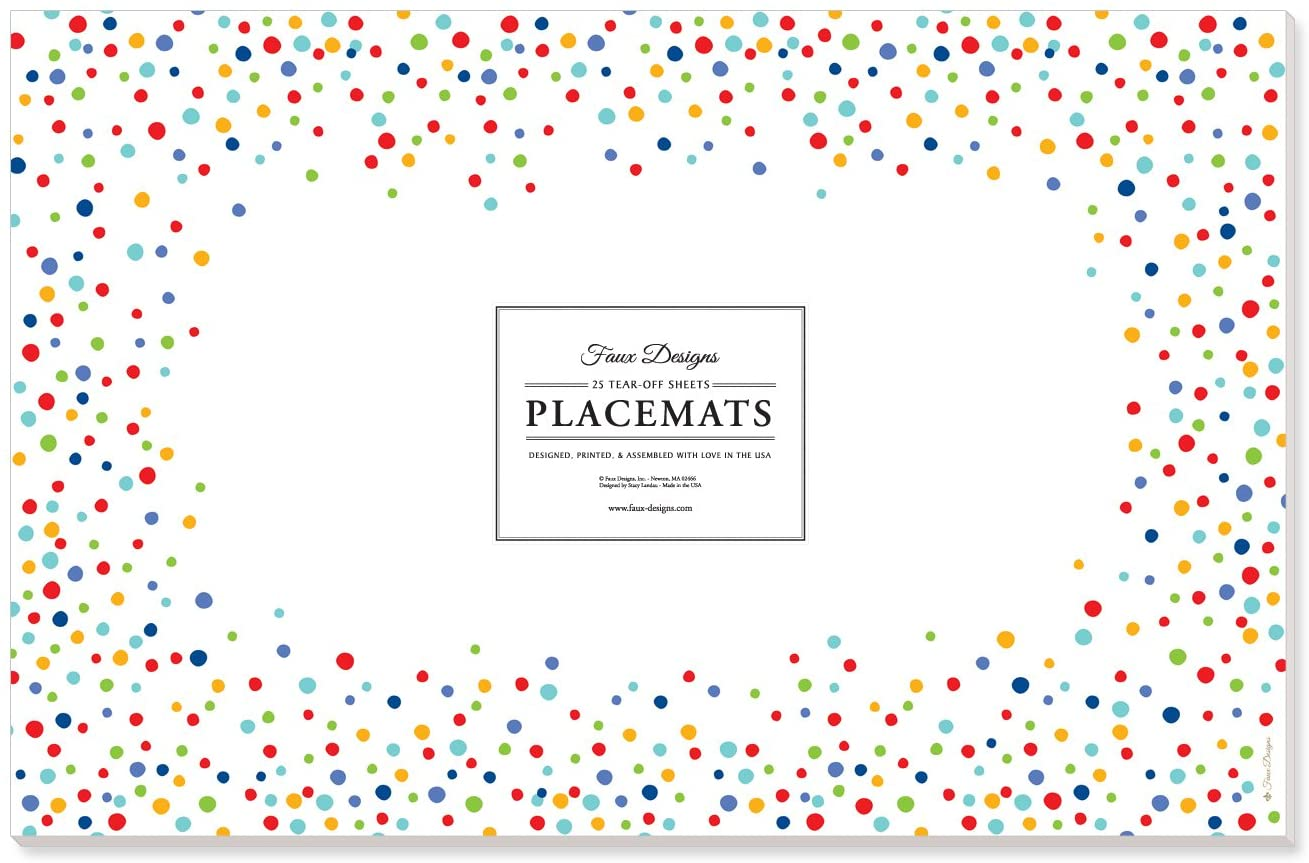 Faux Designs Multi-Colored Confetti 25 Count Designer Paper Placemats Easy Elegant Casual Birthday Party Entertaining