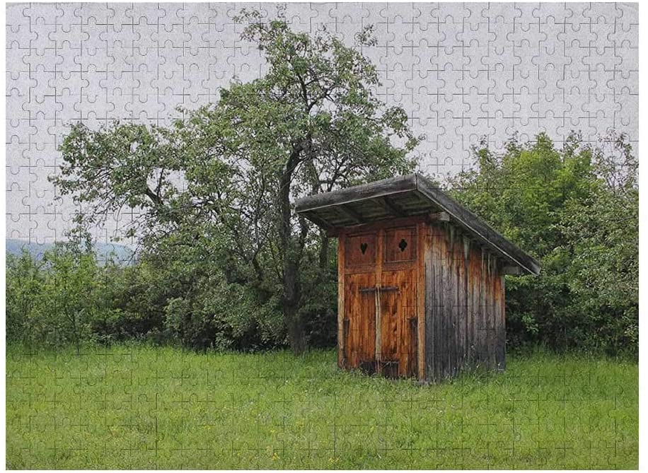Outhouse 3D Puzzles for Adults 500 Piece, Wooden Little Hut Barn Shed Cottage in Nature Forest Image, Forest Green Pale Green and Brown