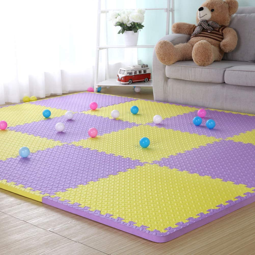 HOMRanger Solid Color Interlocking Carpet,Large Puzzle Exercise Kid's Foam Crawling Play Mat Puzzle Rug for Living Room Tiles C 60602.0cm(9 Pcs)