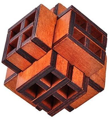 KINGOU 3D Wooden Window Cube Lock Burr Puzzle Brain Teaser Puzzles Removing Assembling Toy
