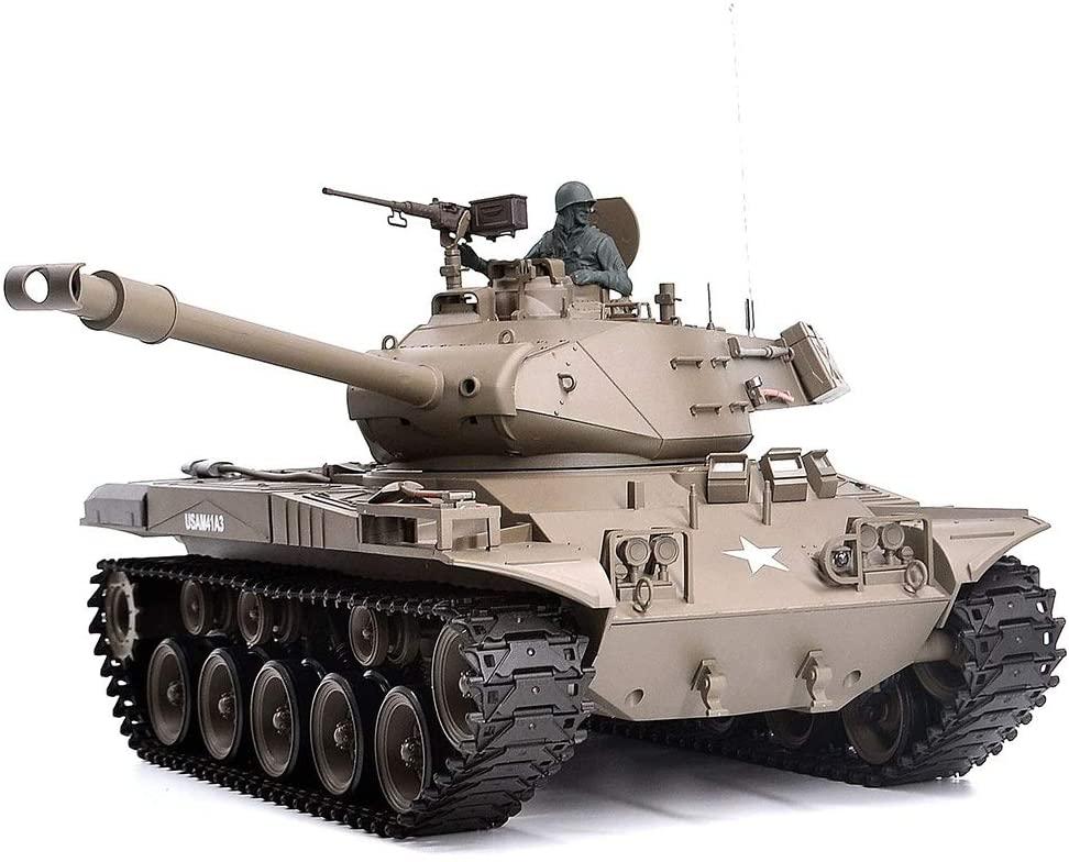 Xuess 2.4G Remote Control Military Model 1/16 U.S.Main Battle Tank Can Smoke (360-Degree Rotating Turret)(Steel Gear Gearbox) Battery(Metal Tracks &Sprocket Wheel & Idle Whe