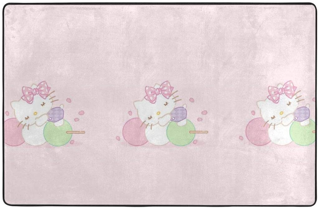 Large Soft Flannel Area Rug Anti- Skid Hello Kitty with Sugar Carpet Bedroom Kids Room Mat Home Decor- 60 X 39 in