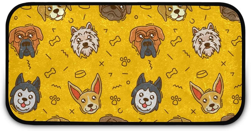 Rectangle Shaggy Rug Floor Mat for Kids Cute Dog Laundry Room Anti-Slip Rug Rectangle Carpet Play Mat