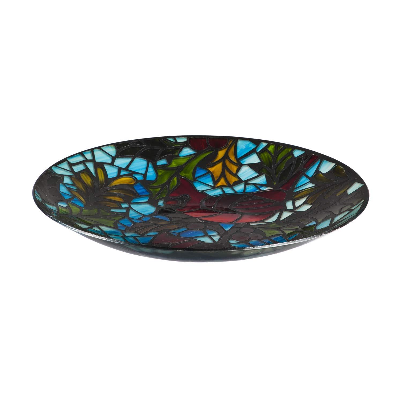 Evergreen Garden Intricate Stunning Cardinal Stained Glass Art Nouveau Bird Bath Bowl - 18
