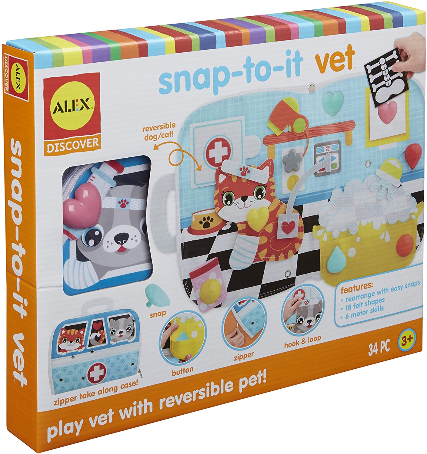 Alex Discover Snap-to-It Vet, Multicolor Kids Toddler Art and Craft Activity