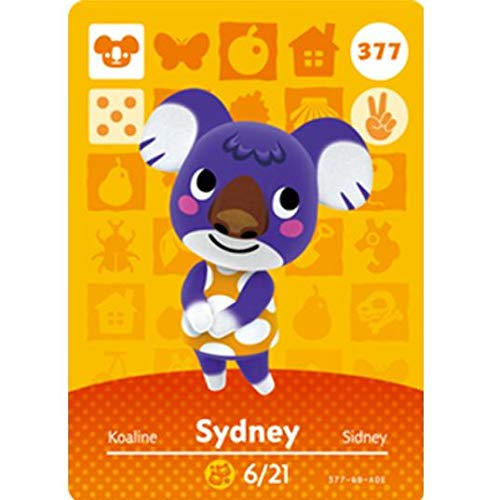 BestTom No.377 Sydney ACNH Animal Villager Card Fan Made.Third Party NFC Card Bank Card Size Water Resistant for Switch/Switch Lite/Wii U