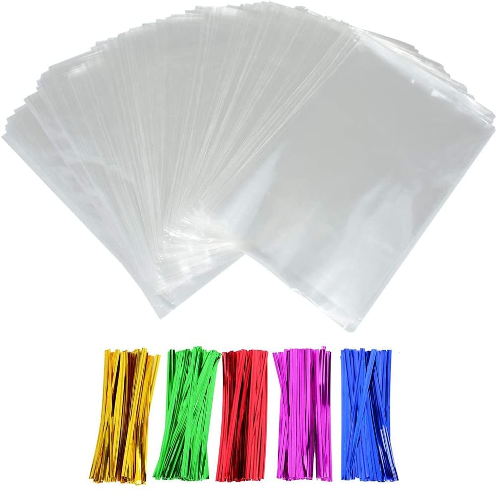 Clear Treat Bags, INTVN 200 Pieces Plastic OPP Cellophane Bag Clear Cello Bags with 200 Twist Ties Party Favor for Breads Bakery Cookies Candies Dessert Chocolates, 6 x 9 Inch