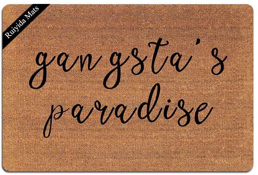 Ruiyida Gangsta Paradise Entrance Floor Mat Funny Doormat Door Mat Decorative Indoor Outdoor Doormat Non-Woven 23.6 by 15.7 Inch Machine Washable Fabric Top