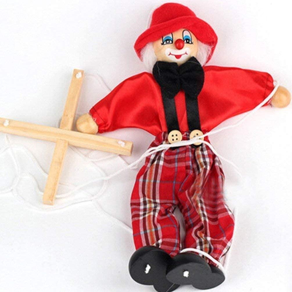 SPARIK ENJOY Clown Hand Marionette Puppet Children's Wooden Marionette Toys Colorful Marionette Puppet Doll Parent-Child Interactive Toys- Red