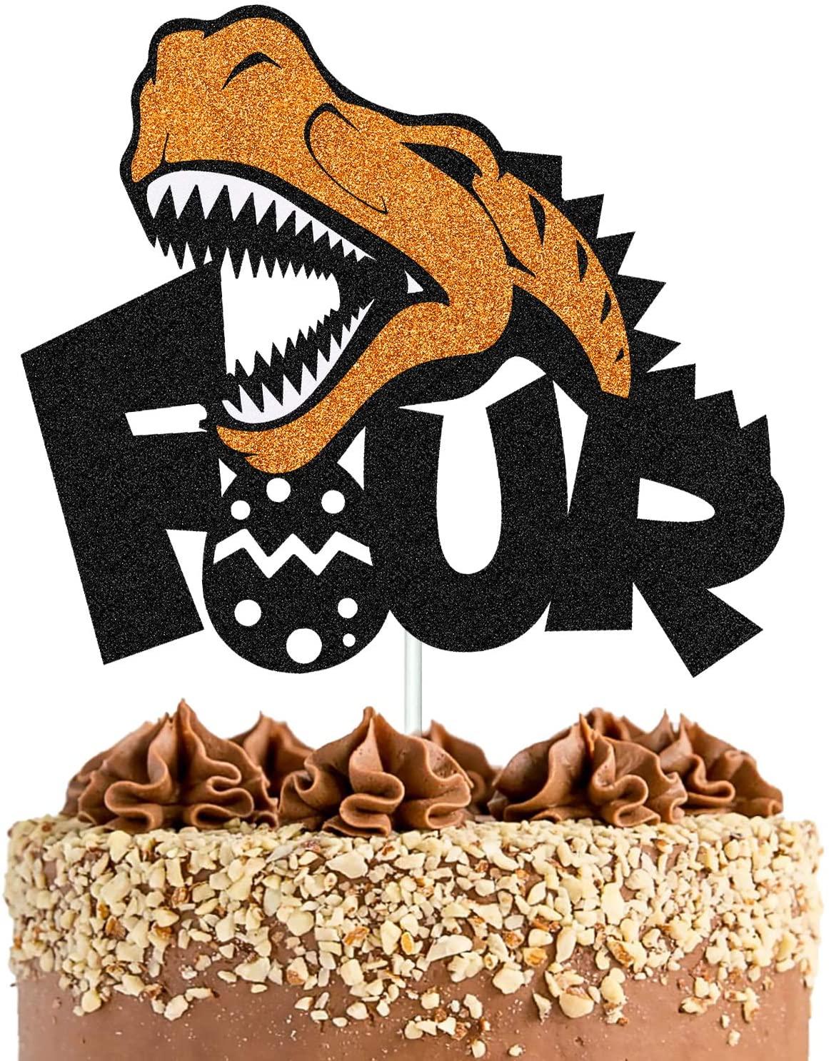 Dinosaur Four Cake Topper Happy Birthday Cake Decorations for Kids Boys Girls Dino Dinosaur Jungle Themed 4th Birthday Party Supplies Glitter Black Decor