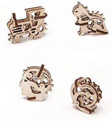 Tribka-Trinkets UGears Tribiki Self-propelled 3D Mechanical Wooden Puzzle KIT DIY Set 4 Pieces