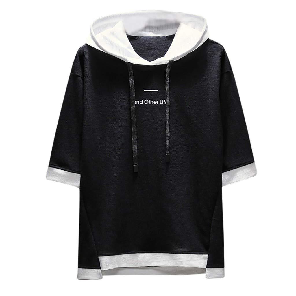 Men's Cropped Sleeve Top, Printed Sweatshirt Crop Top Hoodies New Style Fashion Japanese Hat Simple Blouse Top lkoezi