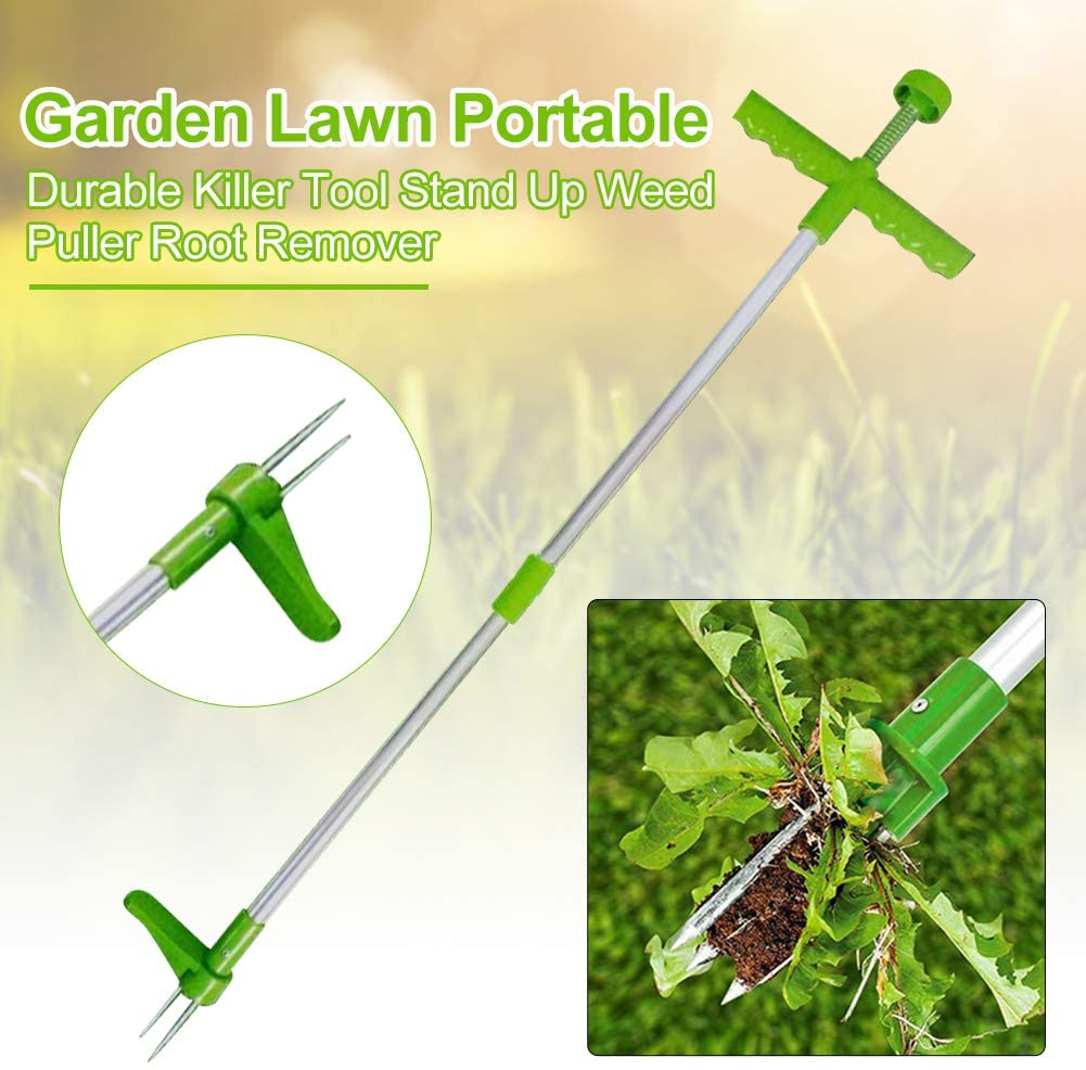 Erthree Weed Puller,Stand Up Weeder,Lawn Weed Puller Tool,Portable Durable Garden Long Handle Root Puller Remover
