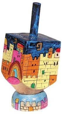 Dreidel Hanukkah Gifts Ornament Game - Yair Emanuel SMALL WOODEN DREIDEL WITH STAND JERUSALEM COLORS (Bundle)