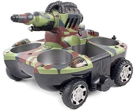 Xuess RC Tank Toy Remote Control Car Childrens Remote Control Toy Old Tank Ship Amphibious Tank Launch Electrically Toy Tank Remote Control for Gift