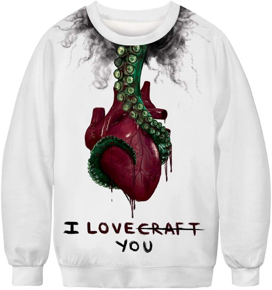 Cegduyi Mens Personality Sweatshirt Halloween Scary 3D Printed Long-Sleeved Top Soft Low Collar