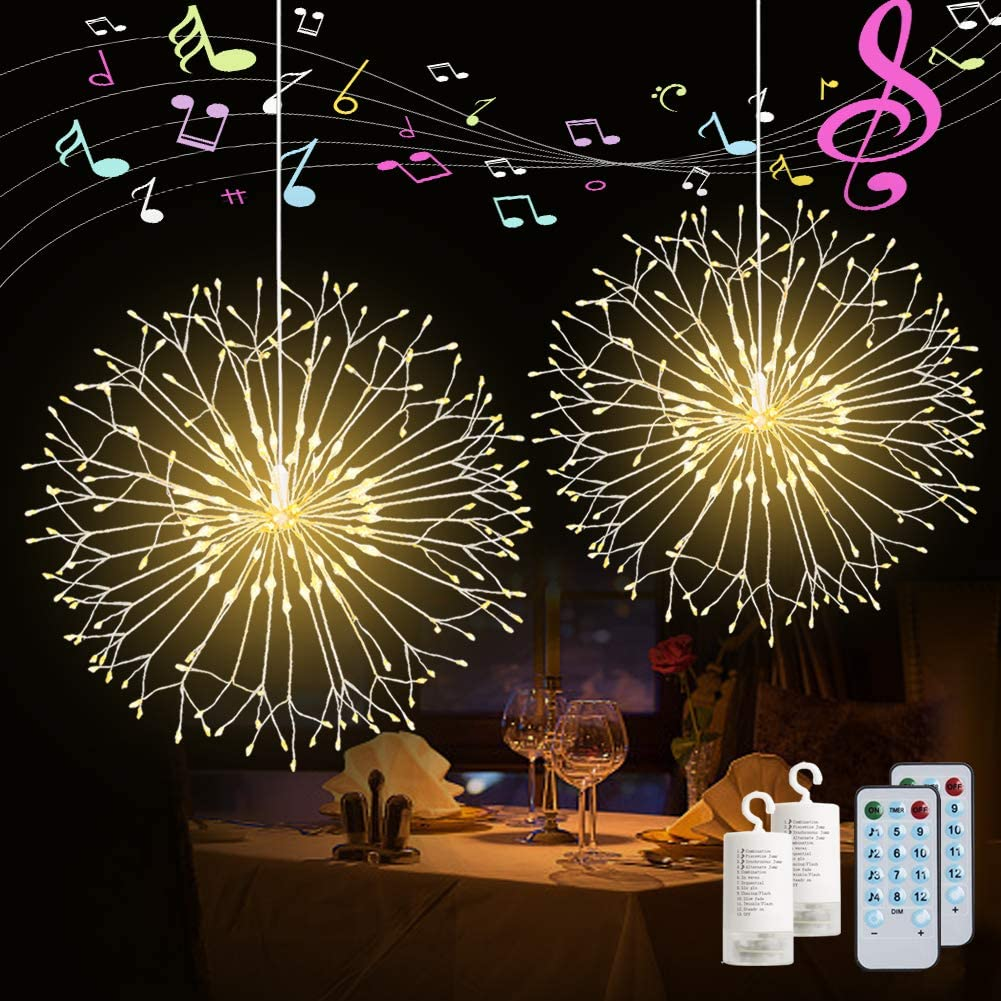 2 Pack Firework String Lights 120 LED Copper Wire Firework Lights DIY Dandelion Hanging Starburst Light Music Control 12 Modes Waterproof Wire Light for Christmas, Home, Indoor Outdoor Decoration