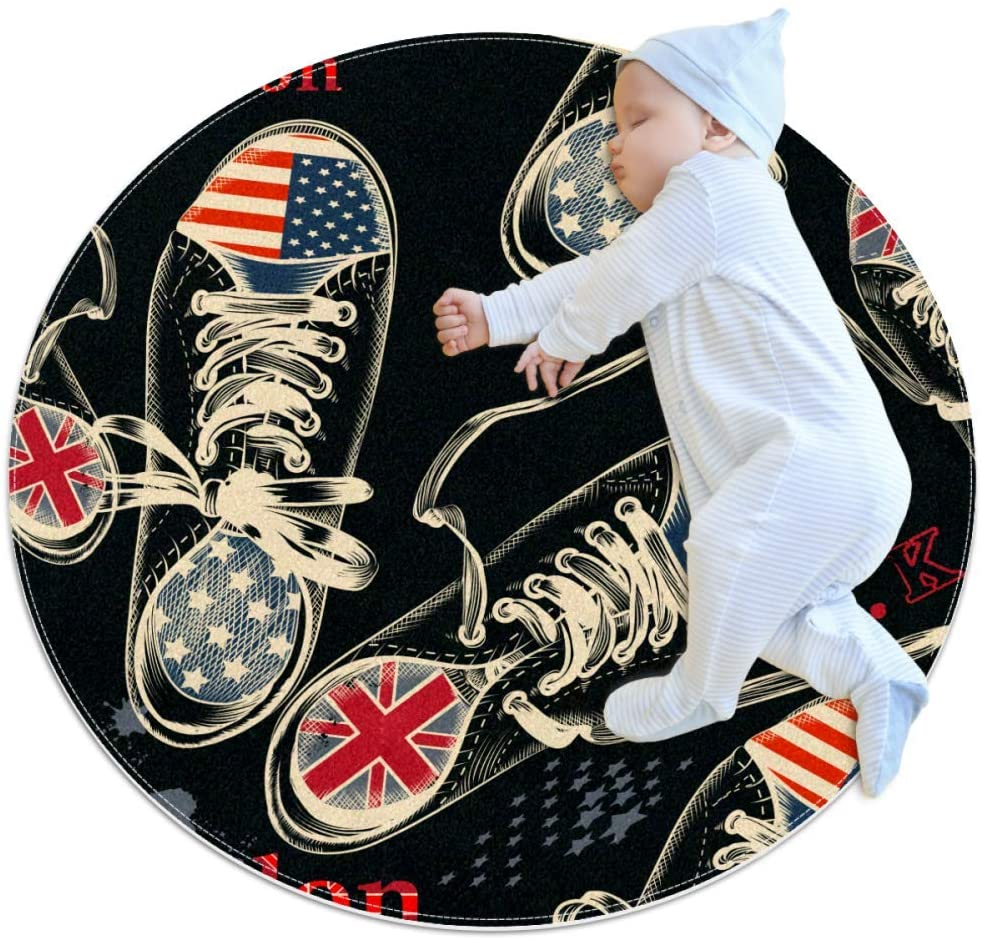 Shoe Letter National Flag Round Area Rug Home Decorative Carpet Soft and Washable Pad Non-Slip for Kid's Toddler Infants Room 27.6x27.6IN