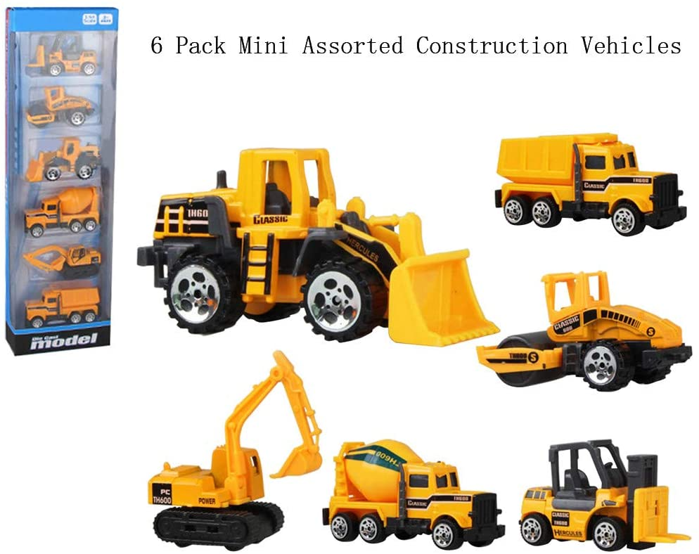 Toysgift Construction Toy Playsets -6 PCS Mini Vehicles Trucks Including Forklift Bulldozer Road Roller Excavator Dump Truck Tractor Mini Engineering Toys for Toddlers, Kids, 3,4,5,6 Year