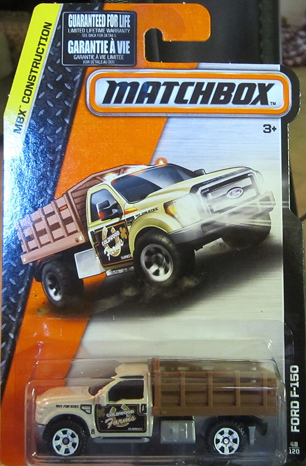 Matchbox 2015 MBX Construction Ford F-150 48/120, White and Brown
