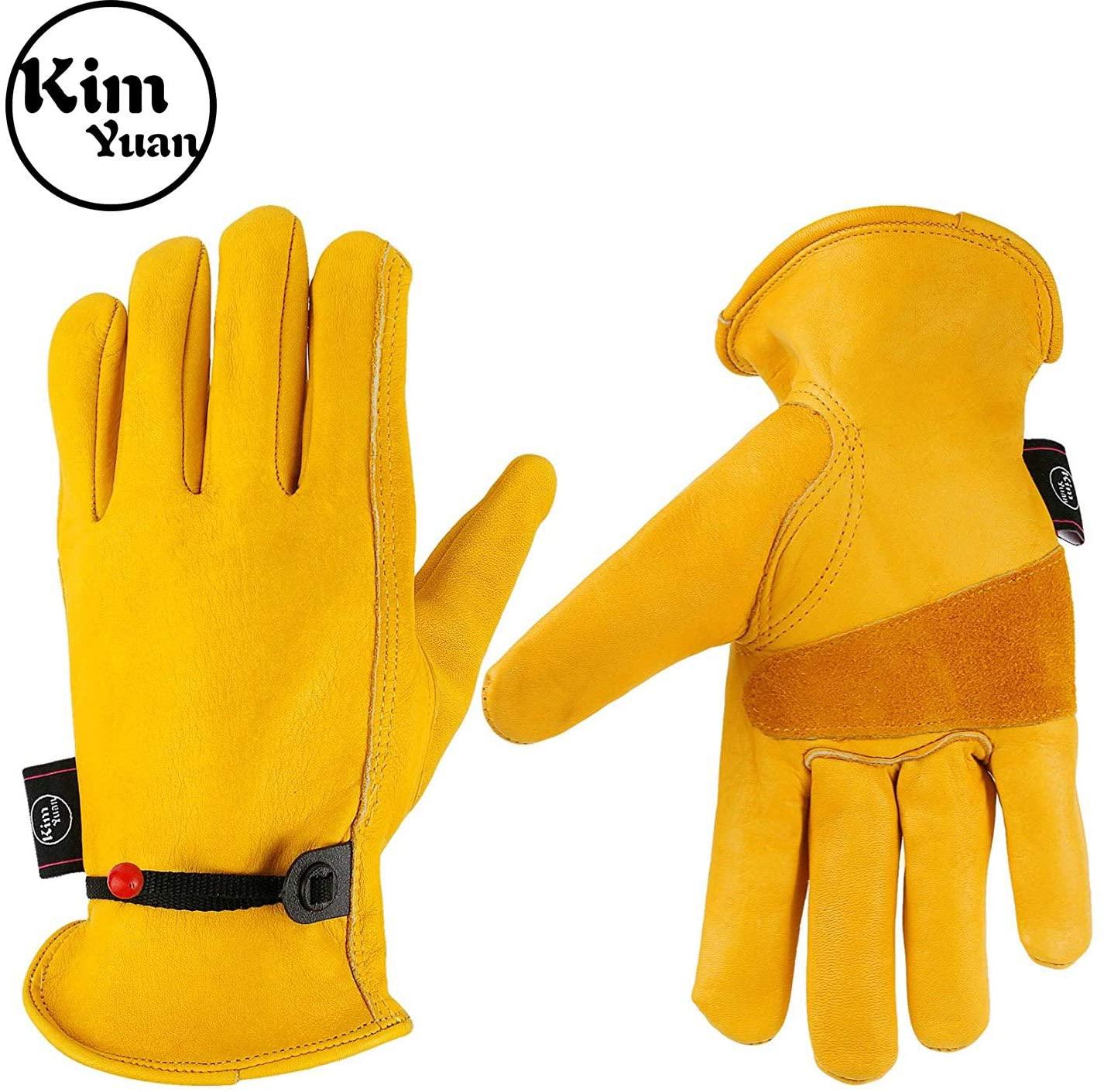 KIM YUAN Leather Work Gloves, with Adjustable Wrist, For Yard Work, Gardening, Farm, Warehouse, Construction, Motorcycle, Men & Women