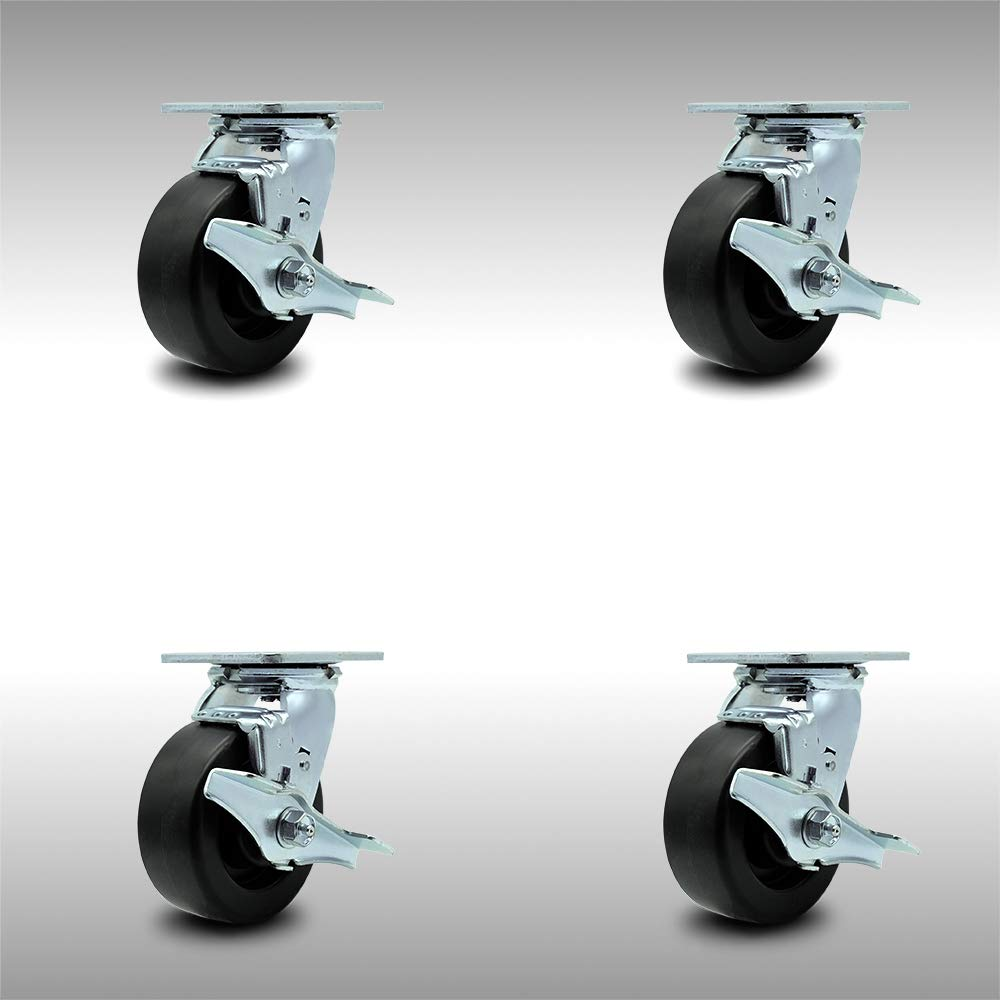 Stainless Steel Polyolefin Swivel Top Plate Caster Set of 4 w/5