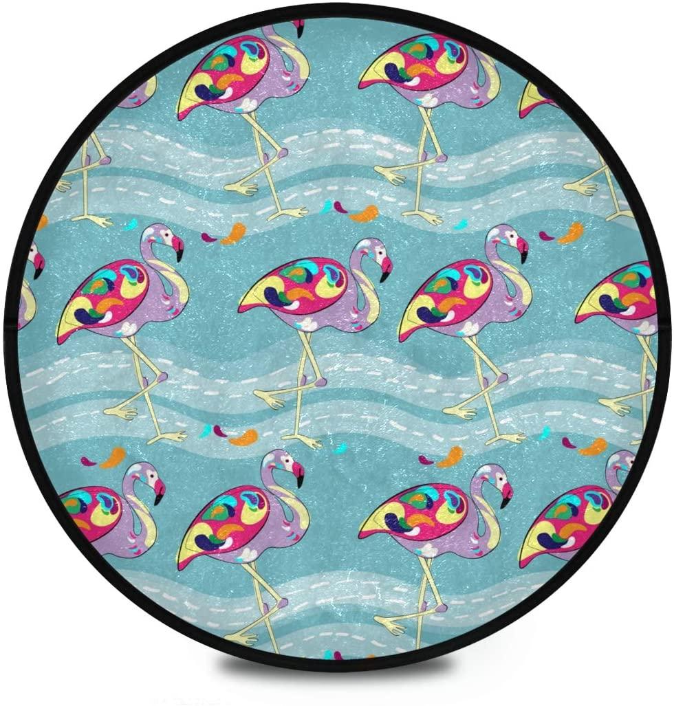 Shaggy Round Mat Flamingo Small Round Rug for Kids Playroom Anti-Slip Rug Room Carpets