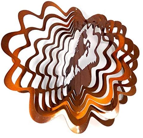 WorldaWhirl Whirligig 3D Wind Spinner Hand Painted Stainless Steel Twister Horse (12 Inch, Copper)