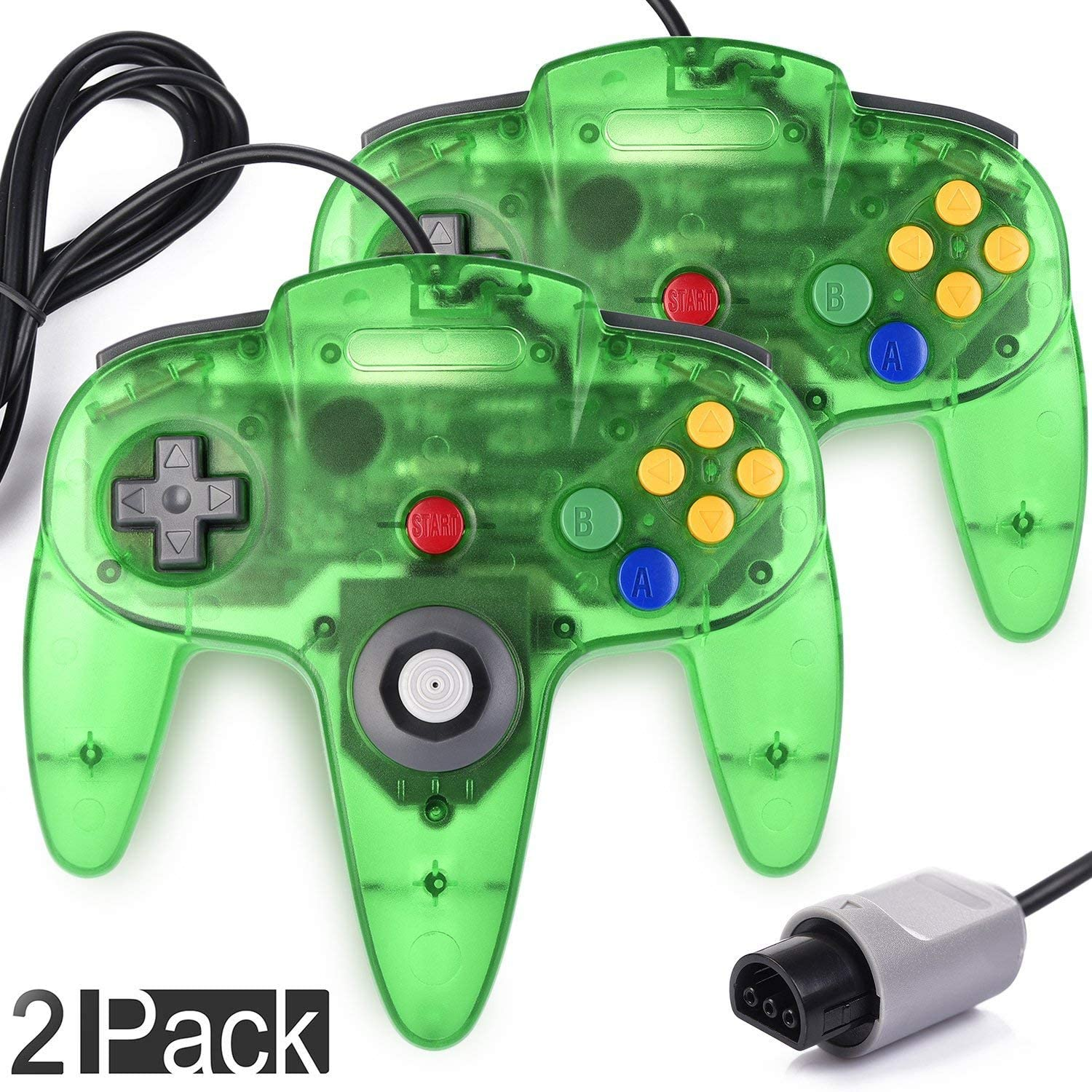 2 Pack Classic Controller for N64 Gaming, miadore Wired Retro Game Pad Joystick Remote Joypad for N64 Video Game System N64 Console - Jungle Green