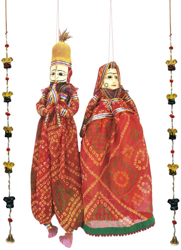 Laxman Art Rajasthani Colorful Handcrafted Handmade Kathputli / Puppet Pair and 1 Pair Ganesh Door/Wall Hangings for Home Décor