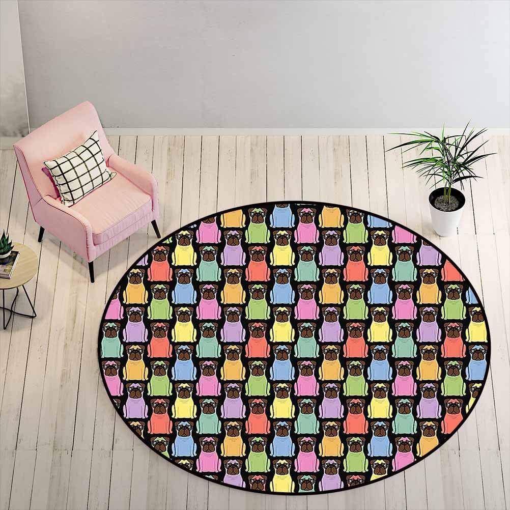Area Rugs Funny Cartoon Style Puppies in Lively Colors Joyful Fun Pattern for Animal Lovers Floor Playmats for Living Room Girls Rooms Multicolor Diameter - 3 Feet