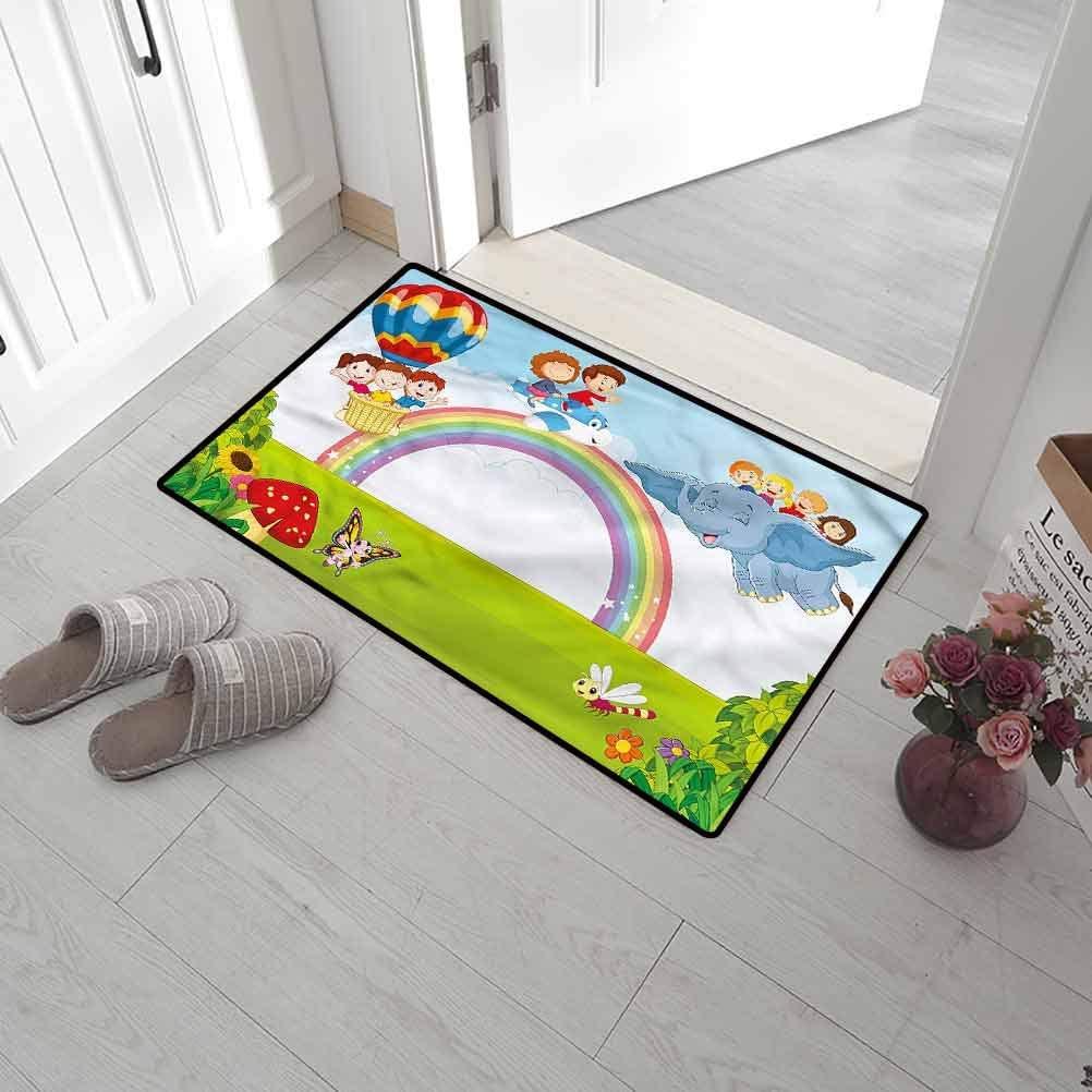 SCOCICI1588 Entryway Rug Rainbow, Cartoon Kids Flying Baloon Bathroom Rug for Mud Room, Back Door, High Traffic Areas 24 x 47 Inch